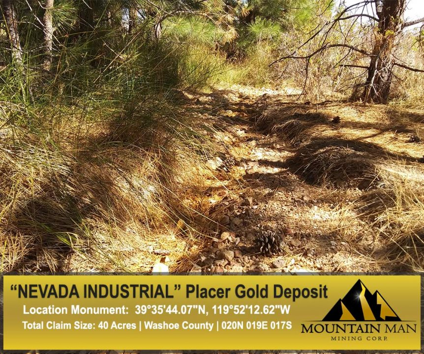 Banner for Nevada Industrial placer claim, show of the iron oxide line in the ravine.