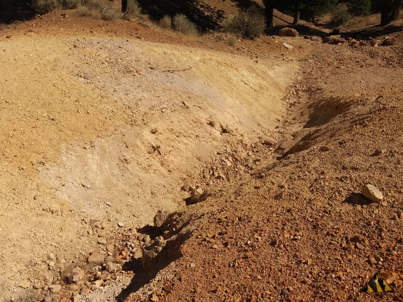 The old tailings pile of sulfides from the claims earlier work in the 1880's.