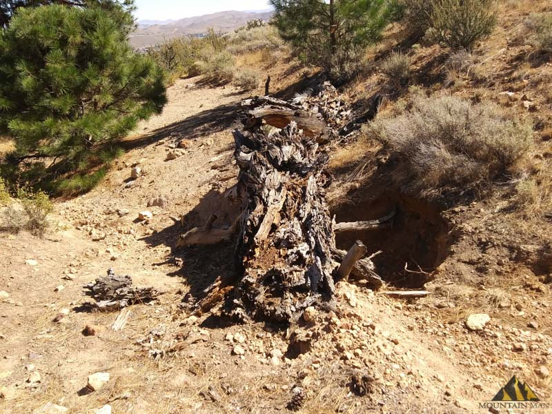 Location of first two gold sample sites on Nevada Industrial placer claim.