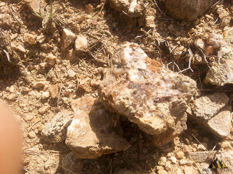 Another piece of quartz gold/silver ore found outside of the drift at the EW6 gold mine.