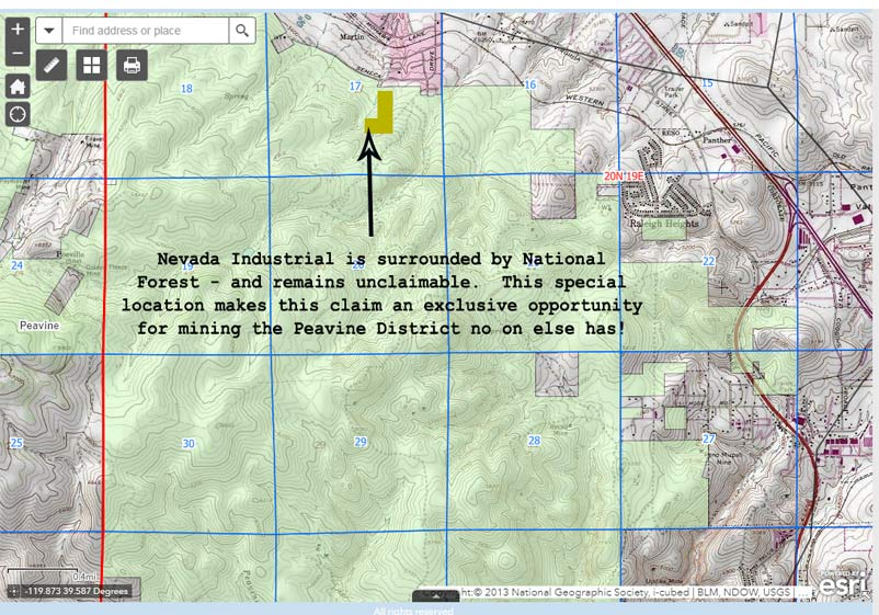 Location of Nevada Industrial 40 acre placer mining claim, surrounded by national forest.